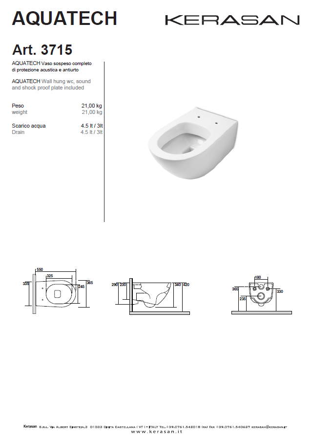 3715-- Vaso Sospeso Completo Di Protezione Acustica E Antiurto-wall Hung Wc Sound And Shock Proof Plate Included