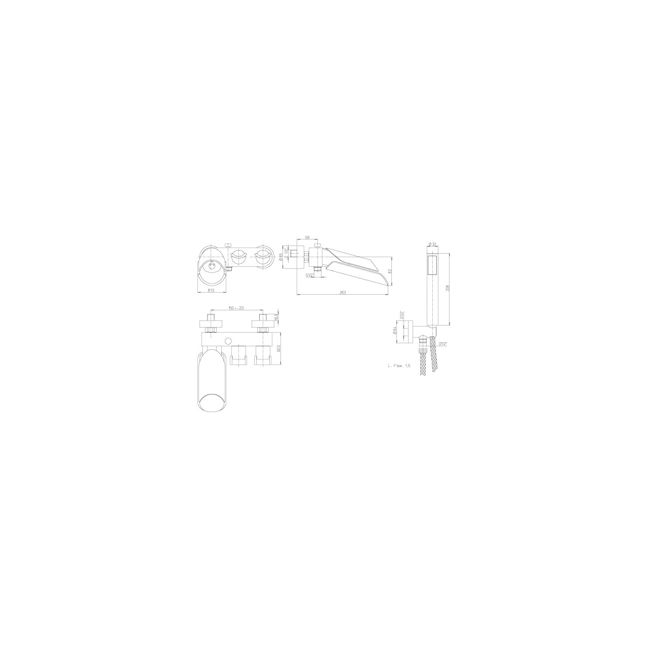 Paini bath-shower mixer MORGANA 105