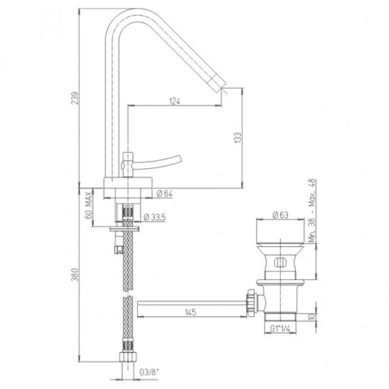 Paini basin mixer PIXEL 205 NEW