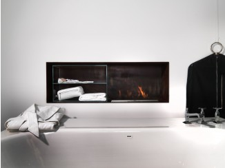 Built-in fireplace with glass case